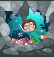 boy scuba diving vector image vector image