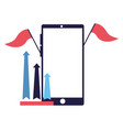 business smartphone flag arrows vector image