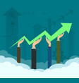 businessmen are holding a growth chart arrow vector image vector image