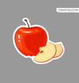 cartoon fresh apple isolated sticker vector image vector image