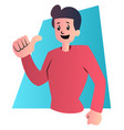 cartoon guy in red shirt on white background vector image vector image