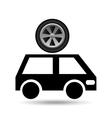 cartoon van car wheel icon design vector image