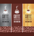 coffee labels with cup barcode and coffee beans vector image vector image