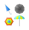 colorful striped umbrellas with rainbow colors vector image