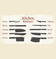 cooking knifes types vector image vector image