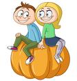couple on pumpkin vector image