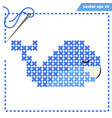 crosstiched blue whale with framle and needle vector image