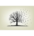 dried tree with branches flying butterflies vector image