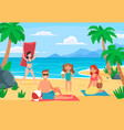 family beach vacation young with happy vector image