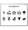 farm elements solid pack vector image