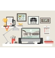 Flat Room Workspace vector image vector image