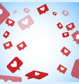 fly like and heart space social media vector image vector image