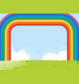 frame design with rainbow over the field vector image vector image