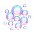 group colorful soap bubbles small and large vector image vector image