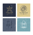 grunge seafood labels line style collection vector image vector image