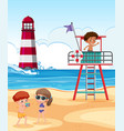 kids playing at the beach vector image vector image