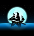 large marine in the night of full moonblue ocean vector image vector image