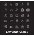 law and justice editable line icons set on vector image vector image