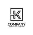 letter k geometric square strong monogram logo vector image vector image