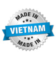 made in Vietnam silver badge with blue ribbon vector image vector image