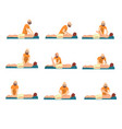 male therapist doing back massage to young man set vector image vector image
