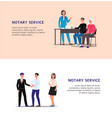 notary service banner set with cartoon man and vector image vector image