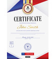 official white certificate with red violet ribbons vector image