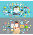 Online Education and Mobile courses concepts vector image vector image