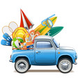 pickup truck with beach accessories vector image vector image
