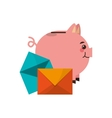 piggy bank and message envelope icon vector image