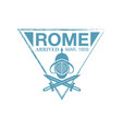 rome arrival ink stamp on passport vector image vector image