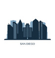 san diego skyline monochrome silhouette vector image vector image