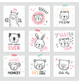 set of interior posters with cute animals vector image vector image