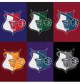 set vintage basketball crests vector image