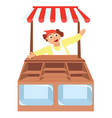 shop showcases with seller store vector image vector image