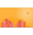 Silhouette of town city and sun landscape vector image vector image