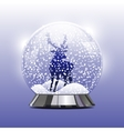 snow globe with a Christmas deer vector image vector image
