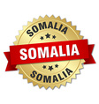 Somalia round golden badge with red ribbon vector image vector image