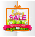 spring sale orange frame with red ribbon vector image vector image