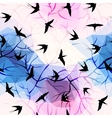 Swallows on geometrical background with branches vector image