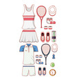 tennis sport equipment set icons vector image