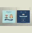 Wedding invitation card beach theme cartoon couple vector image vector image