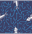 white fish bone skeleton and fishing hooks vector image vector image