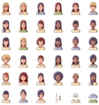 women faces icon set vector image