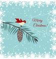 Christmas card with bird vector image