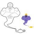 Genie and magic lamp coloring book Strong man in vector image