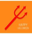 Red evil trident Happy Halloween card Flat design vector image