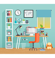 Workplace of the schoo kid - flat style vector image