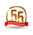 55 years anniversary experience gold label with vector image vector image
