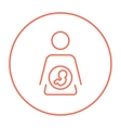 Baby fetus in mother womb line icon vector image vector image